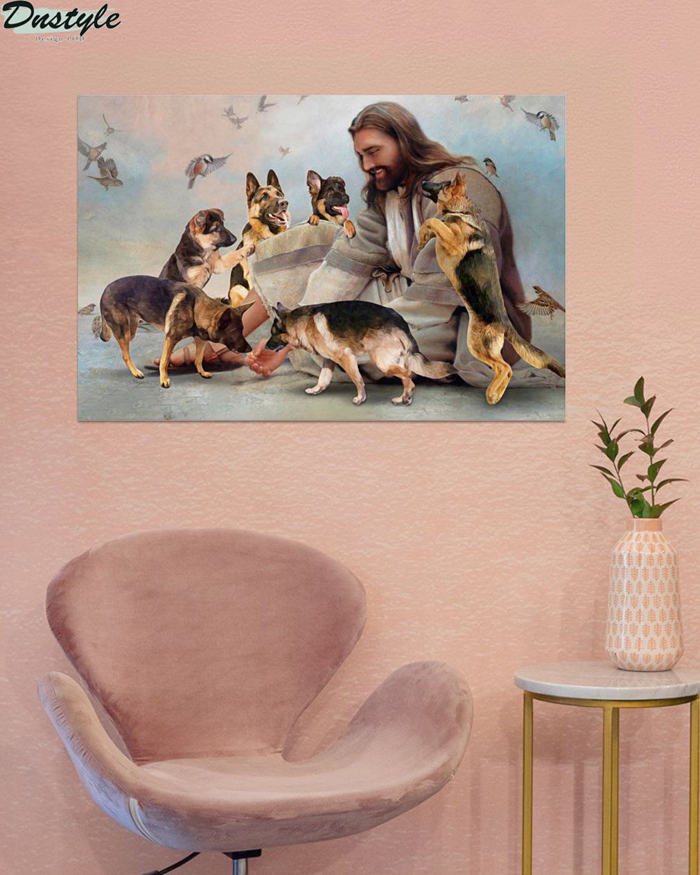 God surrounded by German Shepherd angel poster A3