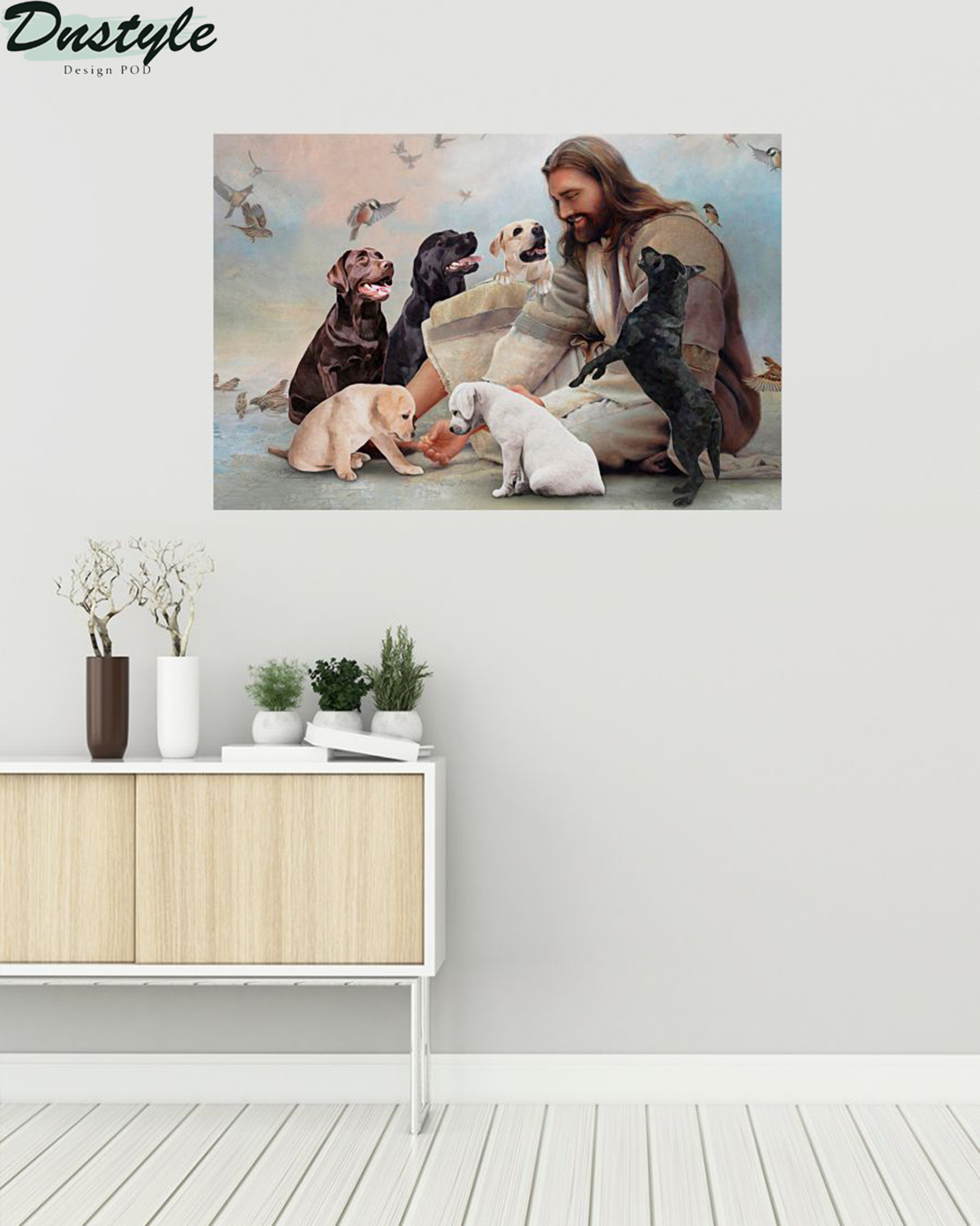 God surrounded by Labrador angels poster A1