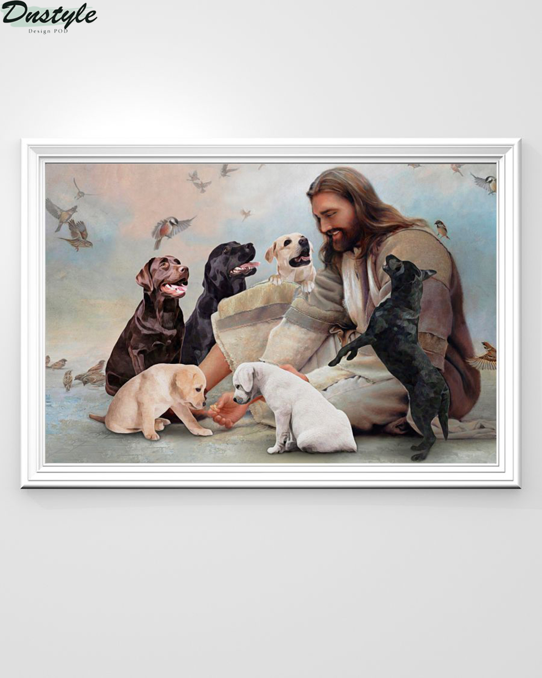 God surrounded by Labrador angels poster A2