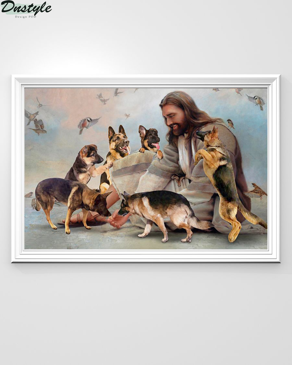 God surrounded by Malinois angels poster A1