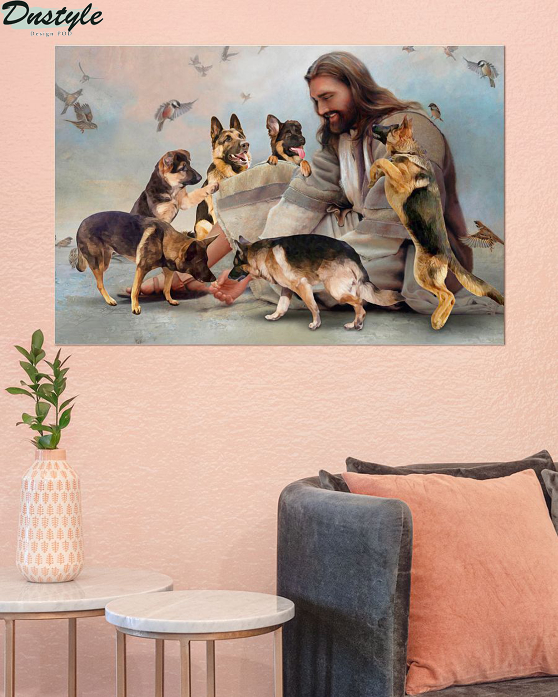 God surrounded by Malinois angels poster A2