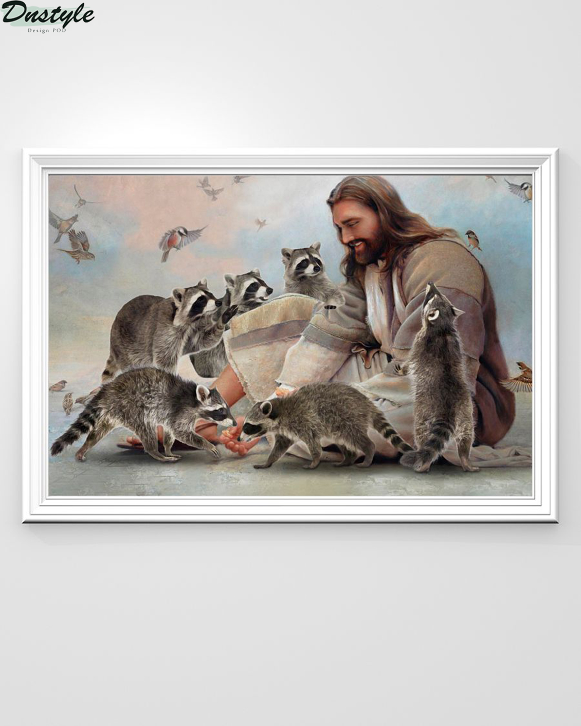 God surrounded by Raccoon angels poster A1