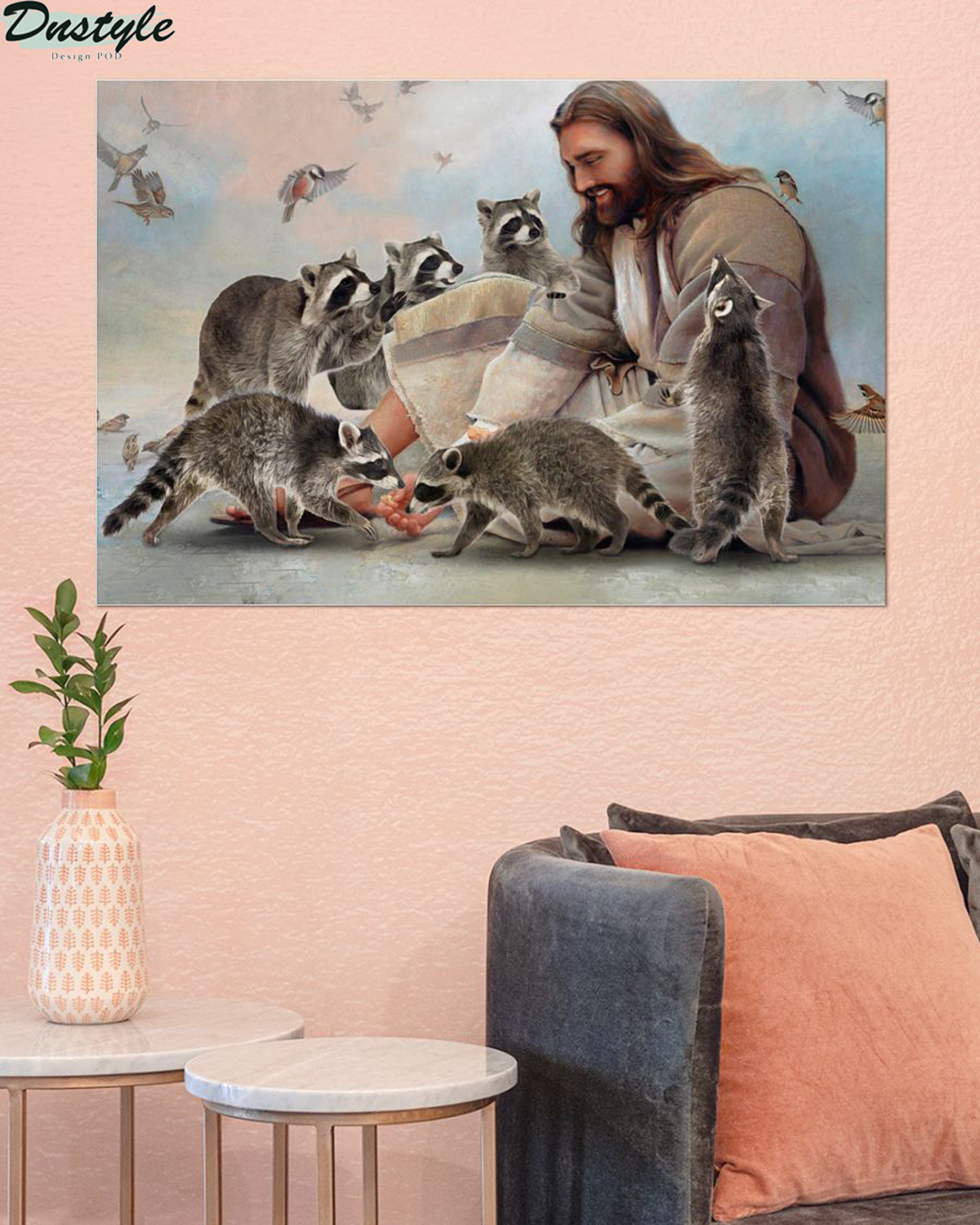God surrounded by Raccoon angels poster A2