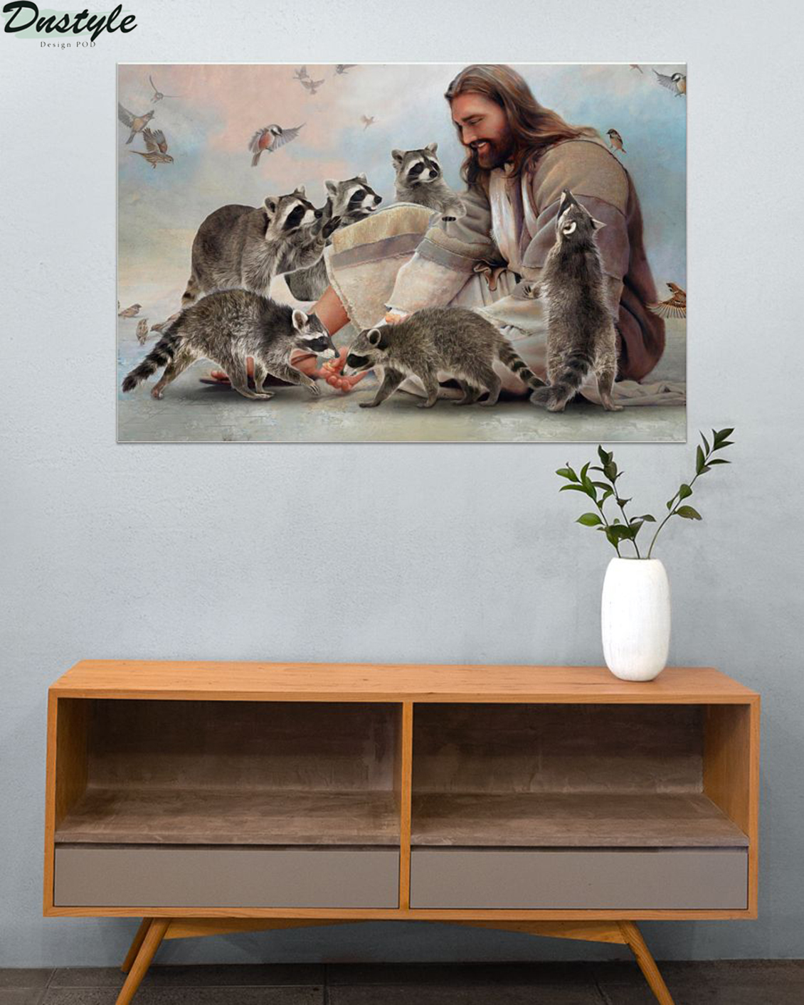 God surrounded by Raccoon angels poster A3