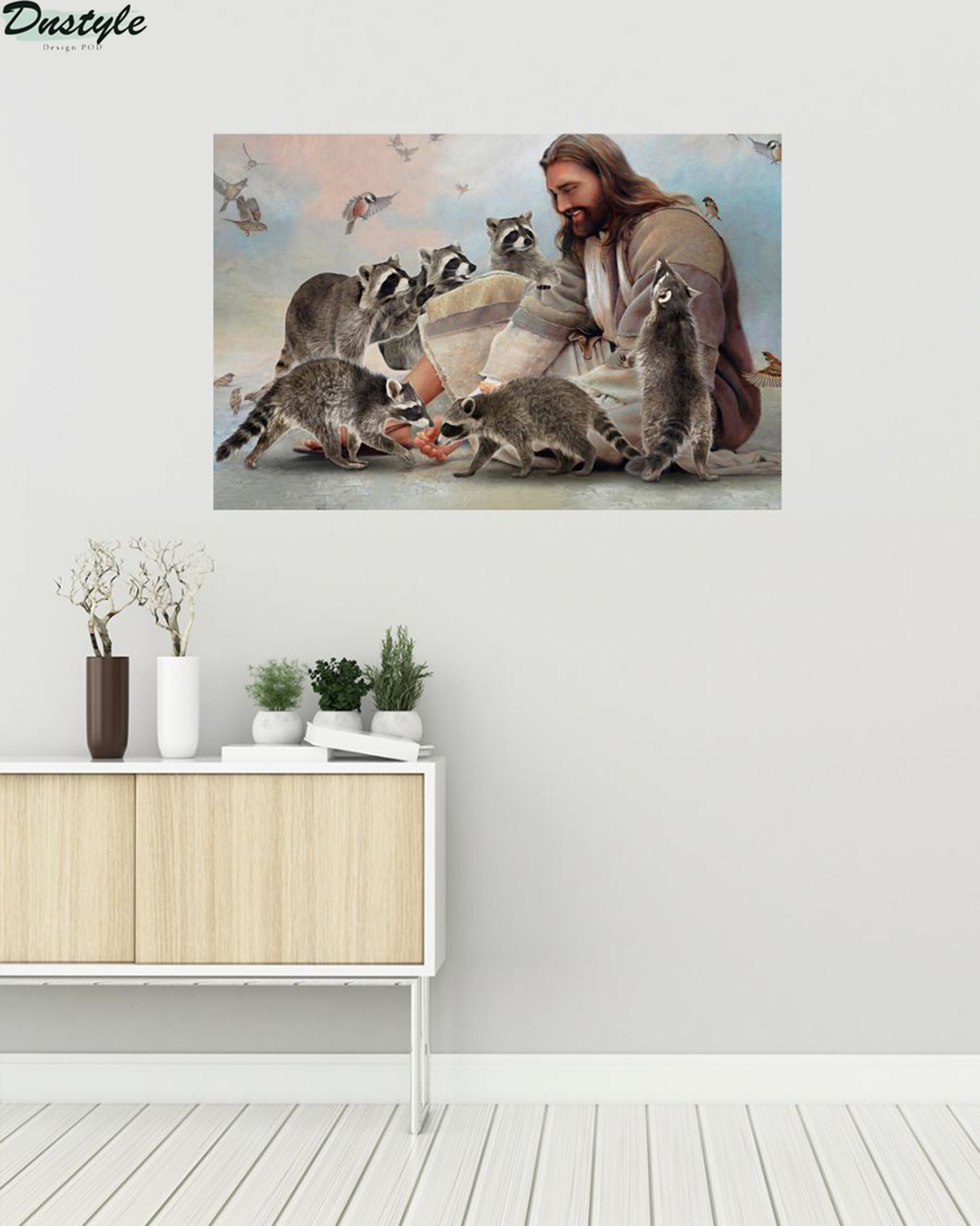 God surrounded by Raccoon angels poster