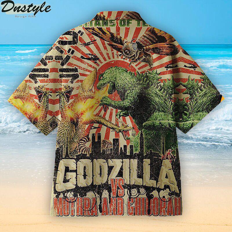Godzilla vs Mothra and Ghidorah Hawaiian shirt 1
