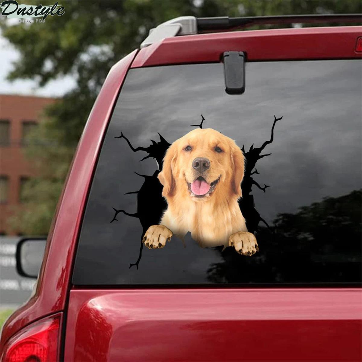 Golden retriever crack car decal sticker 1