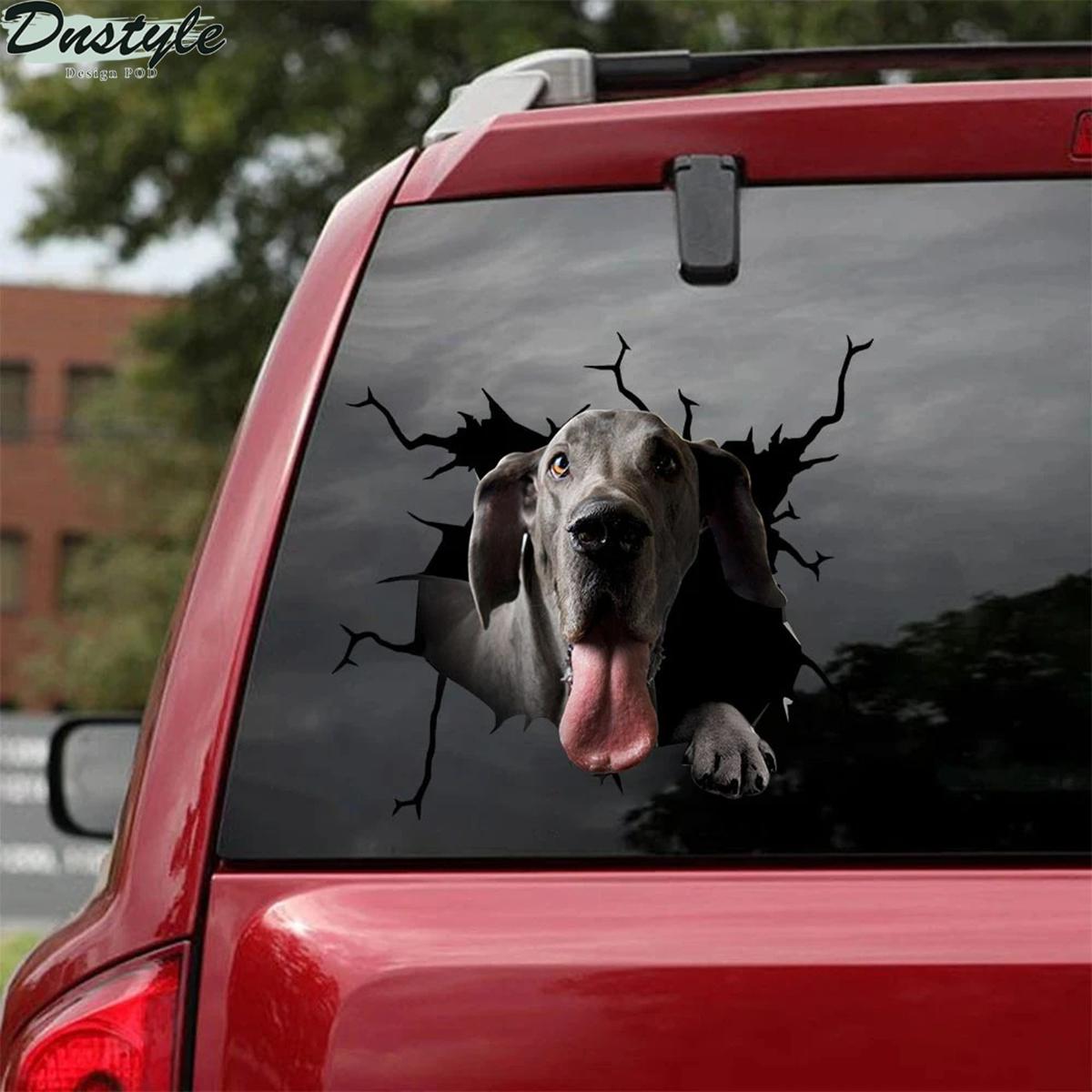 Great dane crack car decal sticker 1