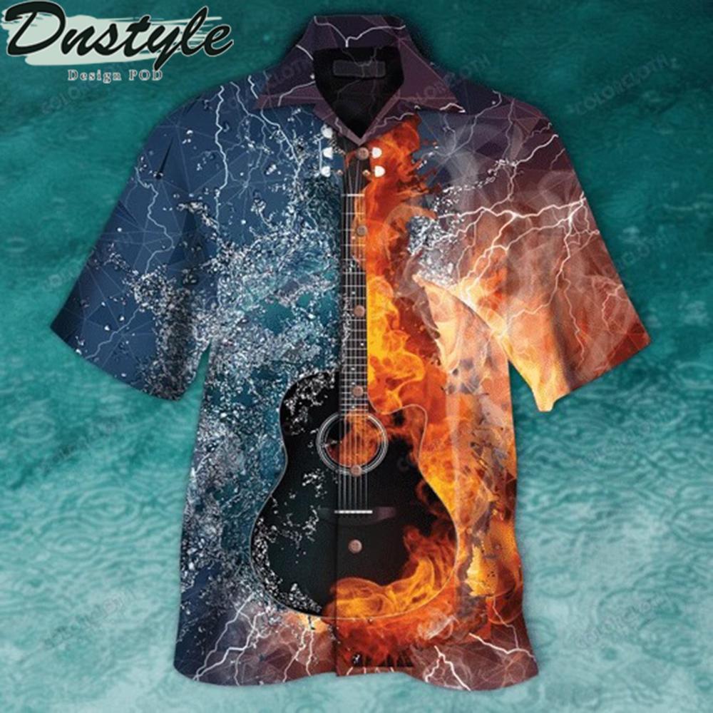 Guitar fire and water hawaiian shirt 1