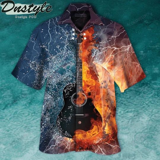 Guitar fire and water hawaiian shirt
