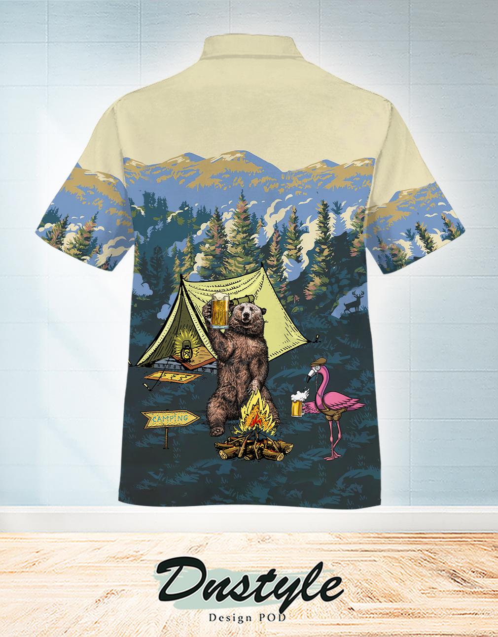 Happy camper bear and flamingo hawaiian shirt 1