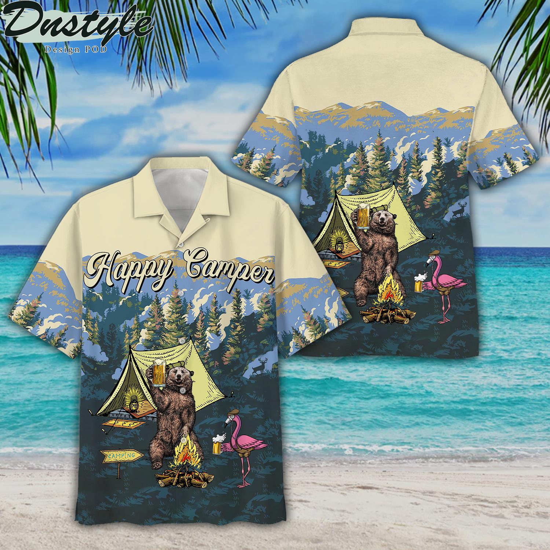 Happy camper bear and flamingo hawaiian shirt