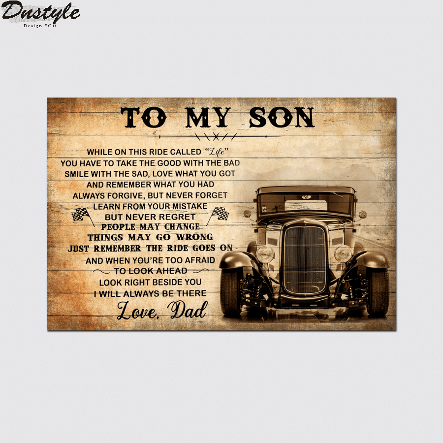 Hot rod to my son love dad canvas 1