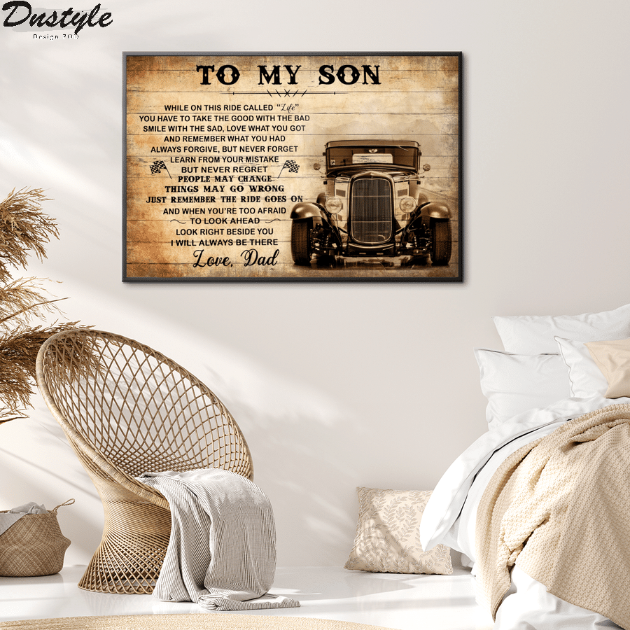 Hot rod to my son love dad canvas 2