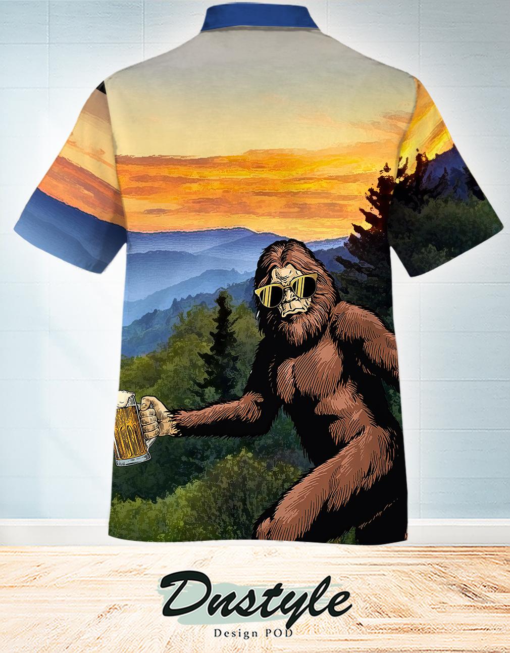 I believe in bigfoot and beer hawaiian shirt 1