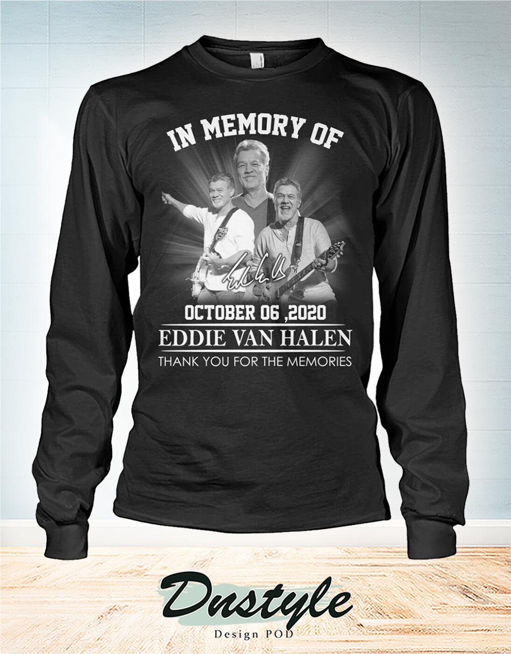 In memory of Eddie Van Halen october 6 2020 thank you for the memories long sleeve
