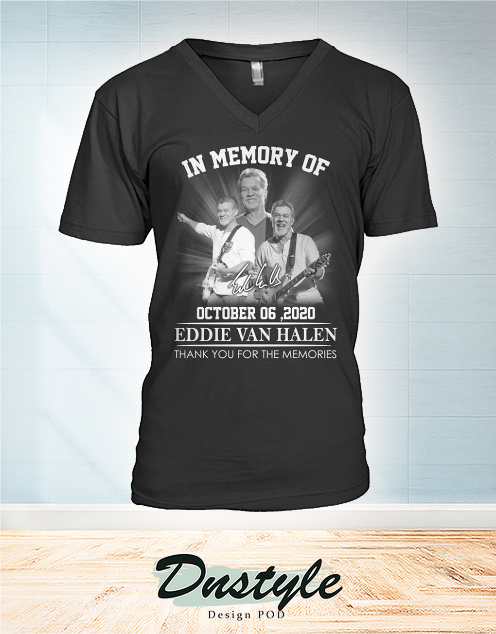 In memory of Eddie Van Halen october 6 2020 thank you for the memories v-neck