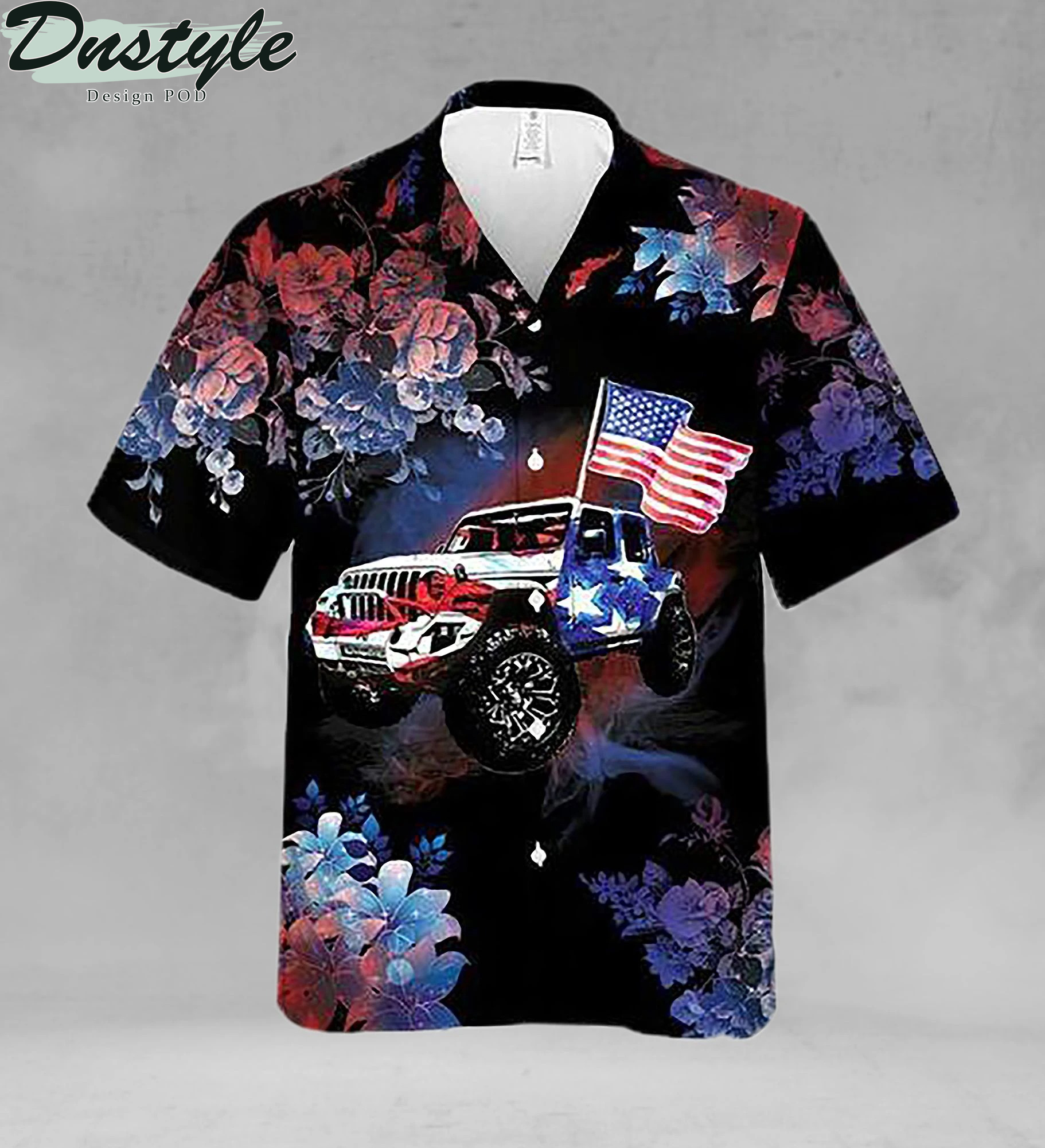 Jeeps and american flag hawaiian shirt 1