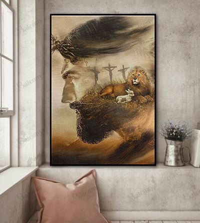 Jesus and lion canvas and poster 1