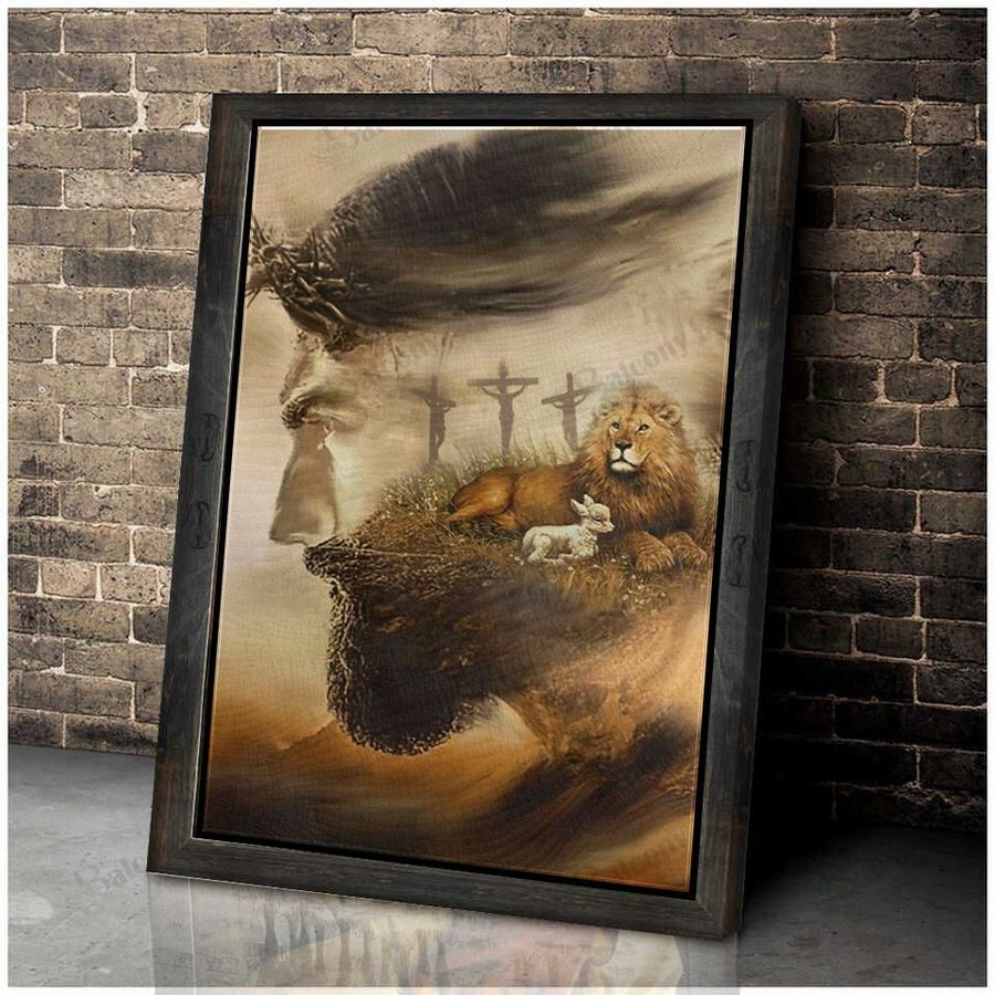 Jesus and lion canvas and poster 2