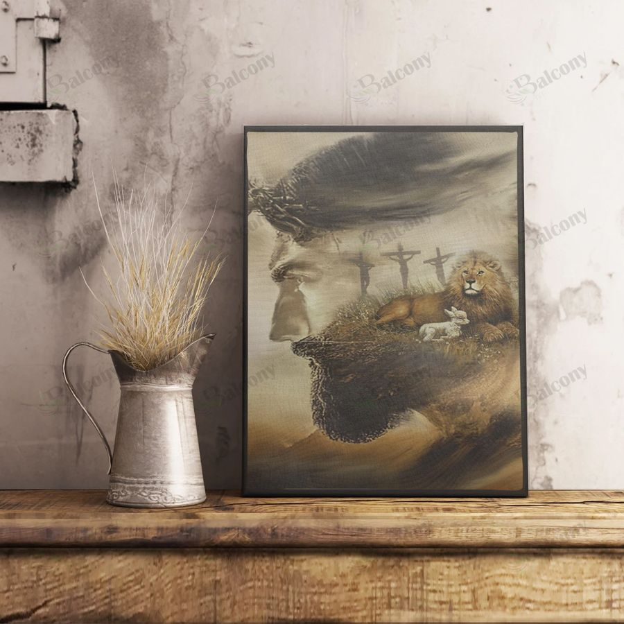 Jesus and lion canvas and poster