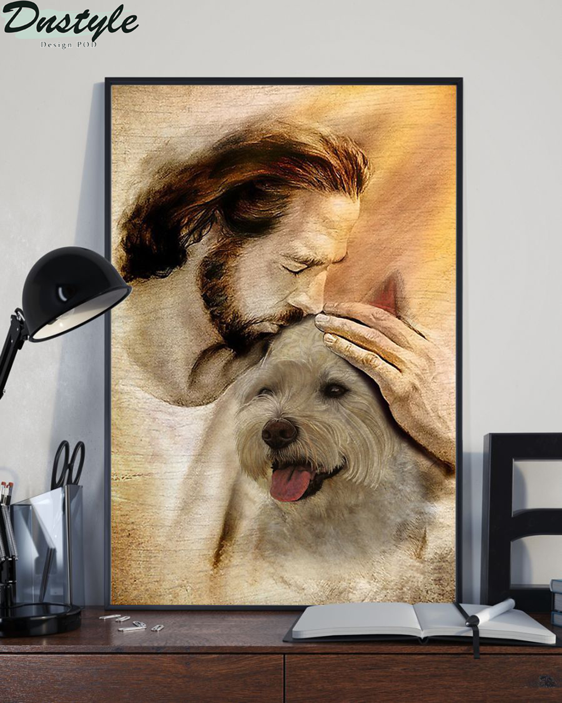 Jesus with lovely Westie poster A1