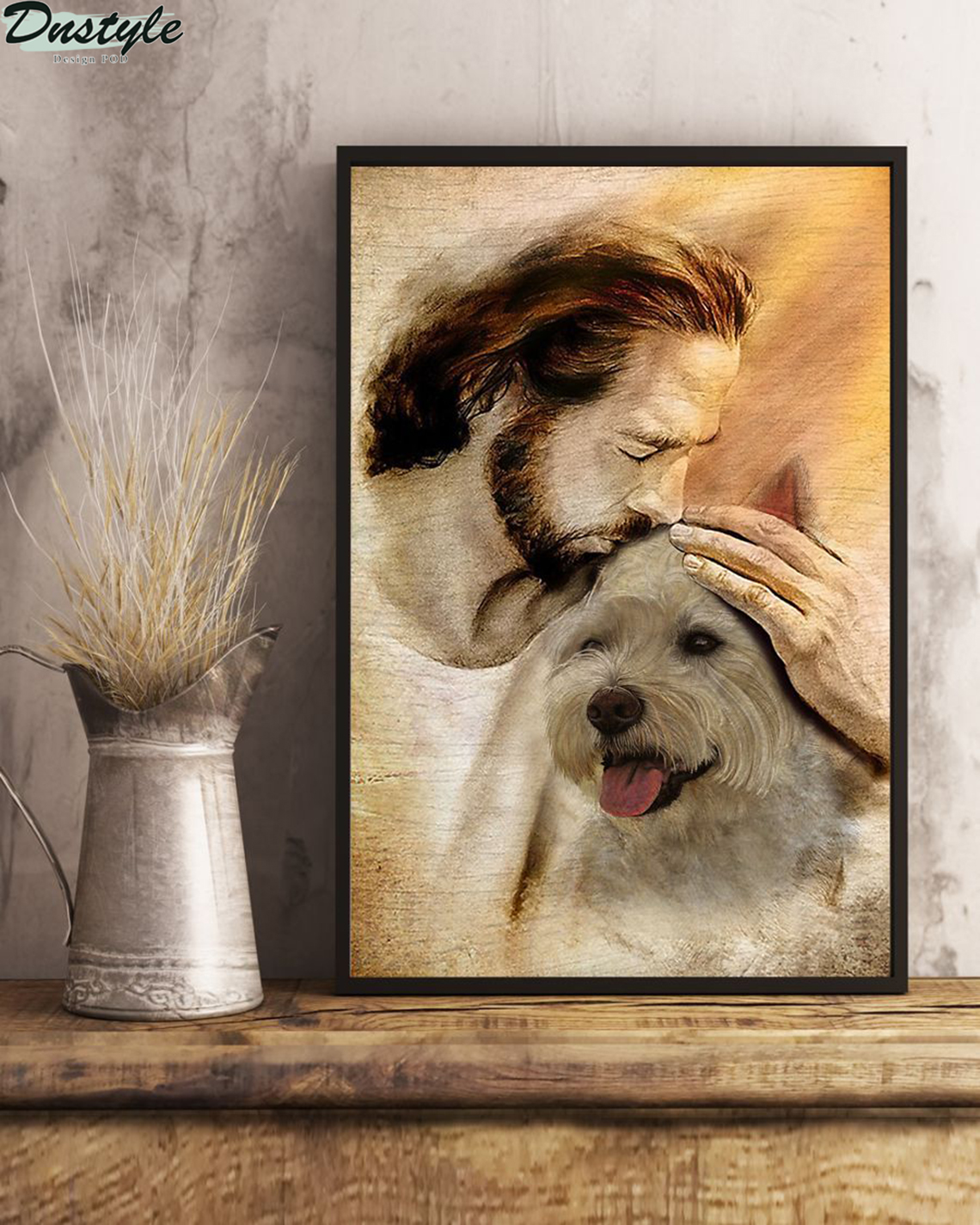 Jesus with lovely Westie poster A2