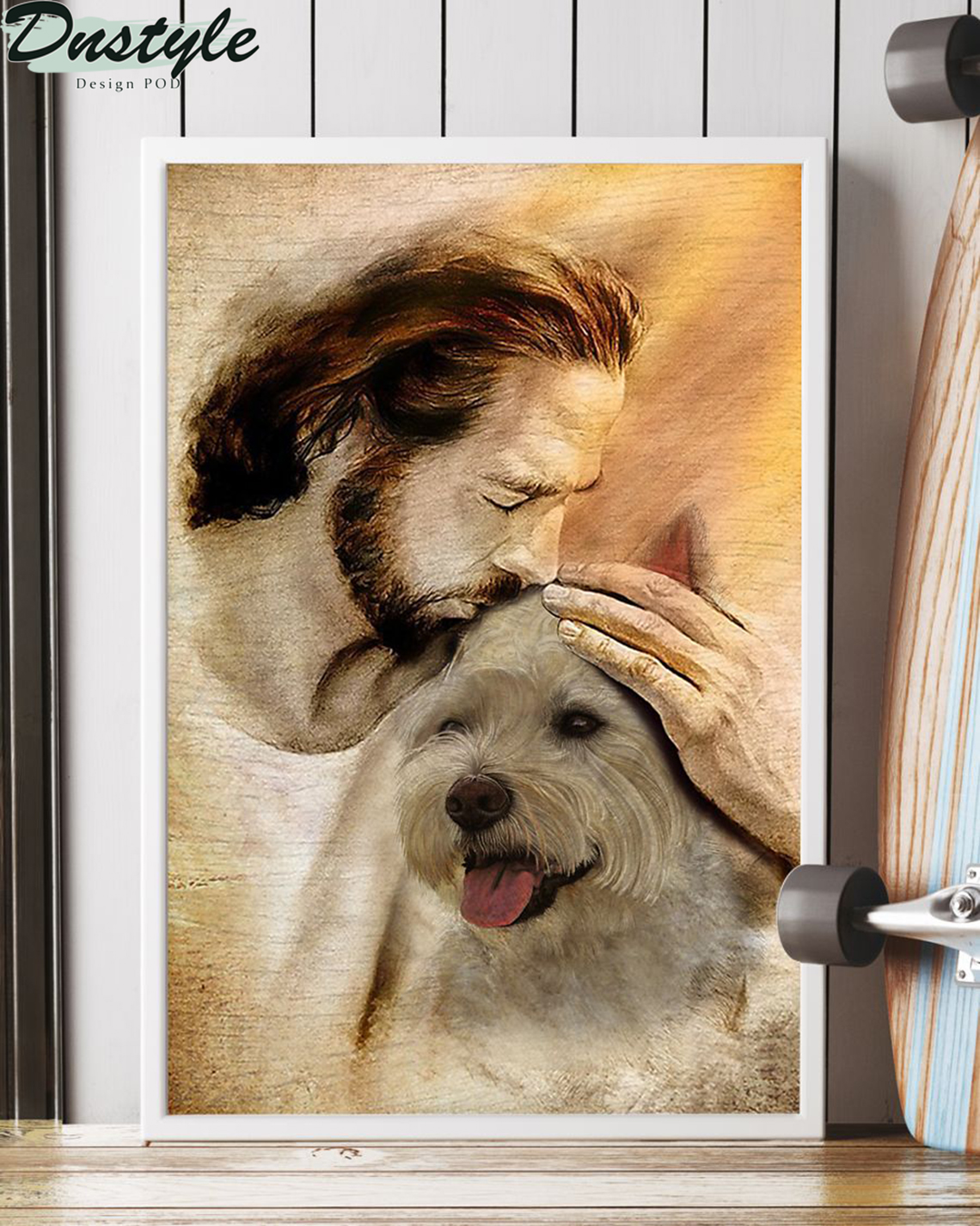 Jesus with lovely Westie poster A3