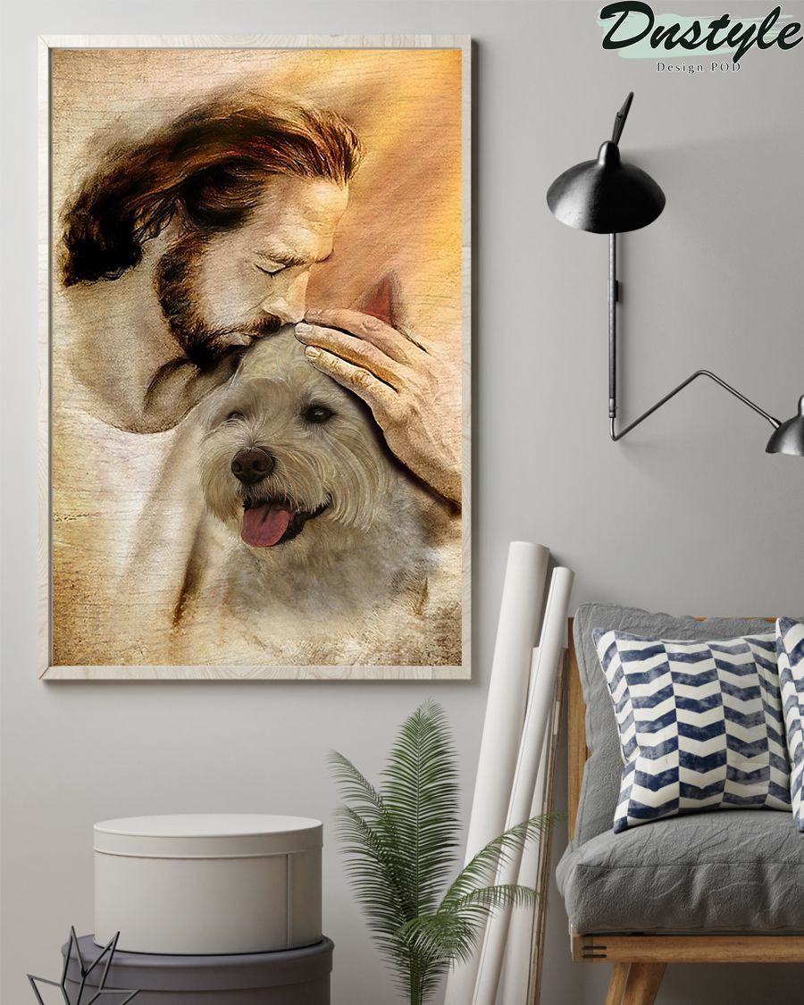 Jesus with lovely Westie poster