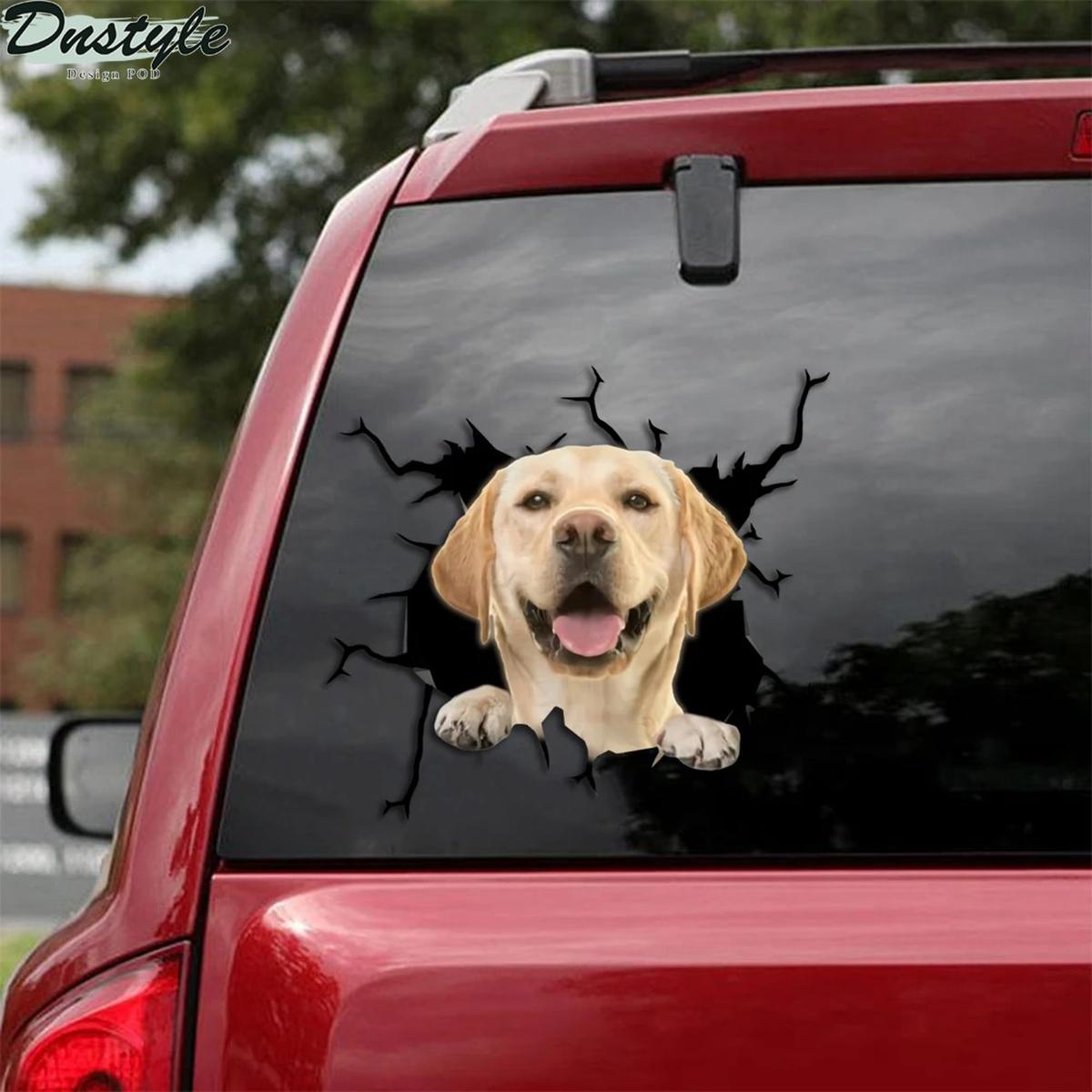 Labrador golden retriever crack car decal sticker 1