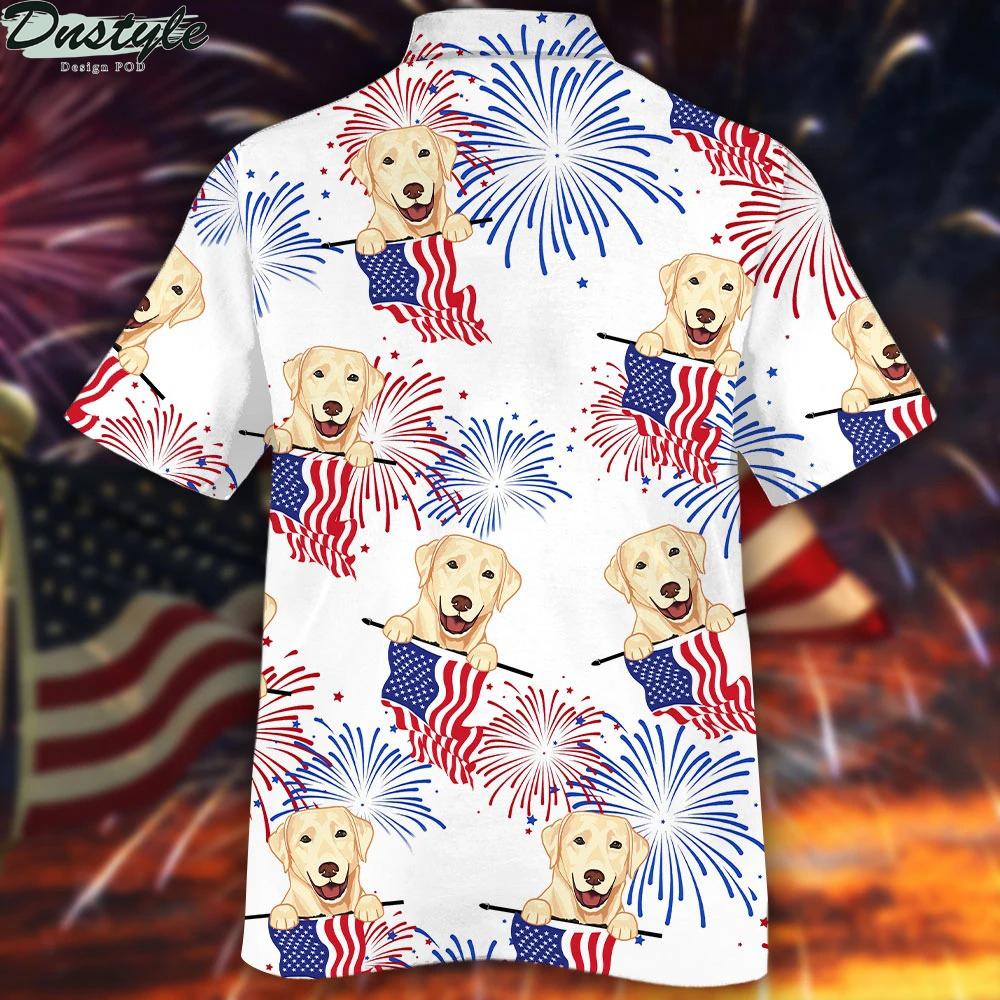 Labrador retriever american flag firework hawaiian shirt 1