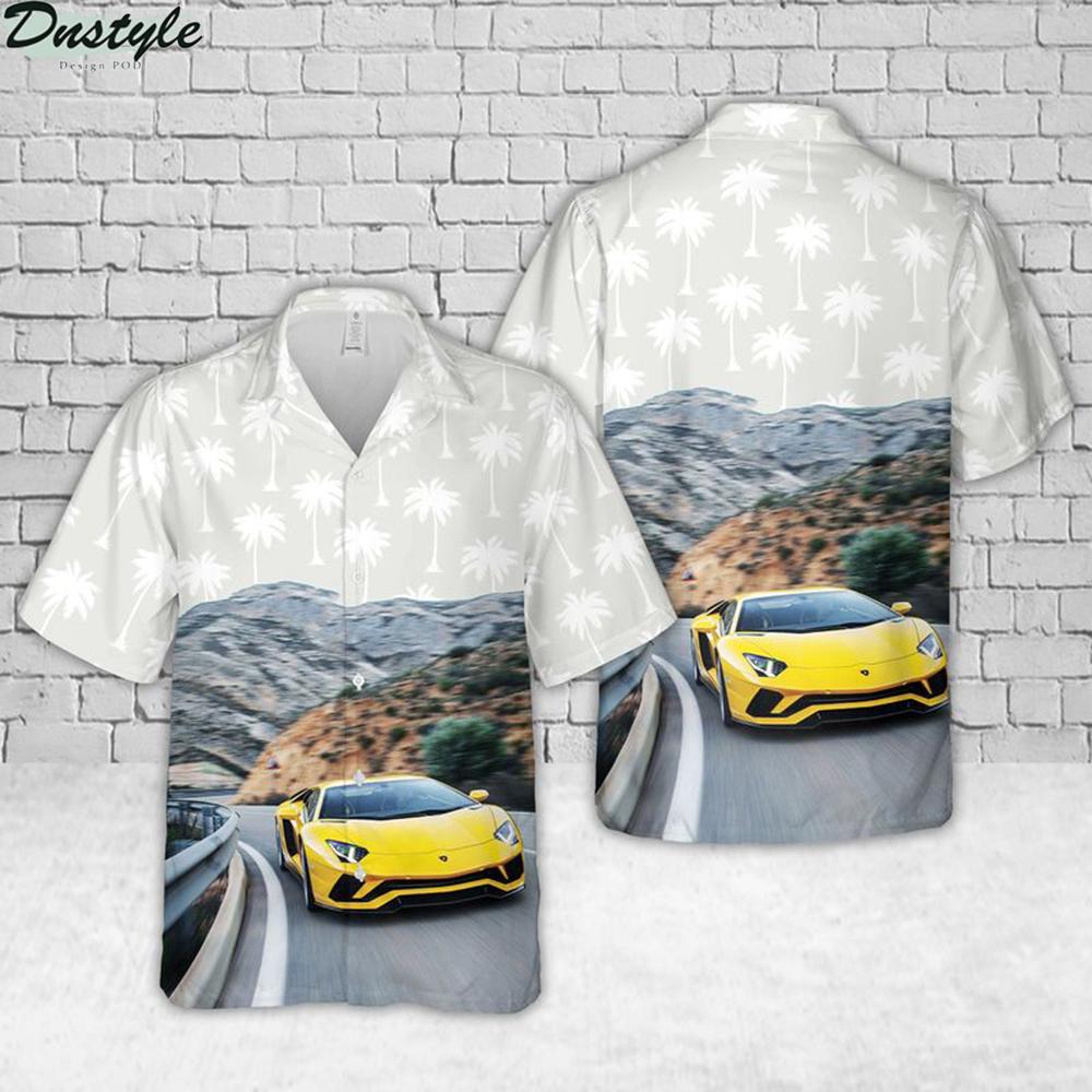 Lamborghini aventador gold hawaiian shirt 1