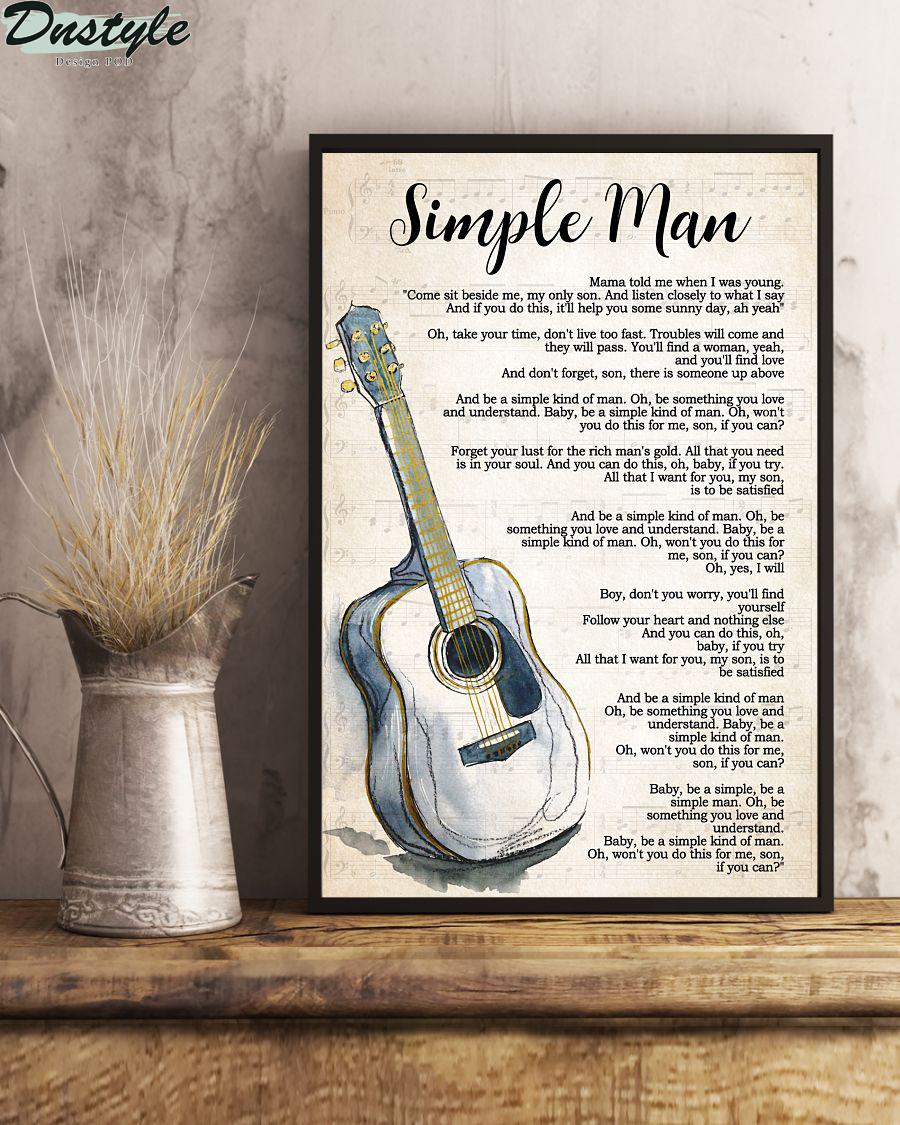 Lynyrd skynyrd guitar simple man lyrics vertical poster 1