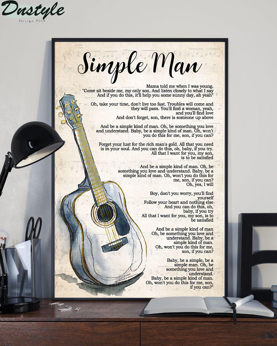 Lynyrd skynyrd guitar simple man lyrics vertical poster