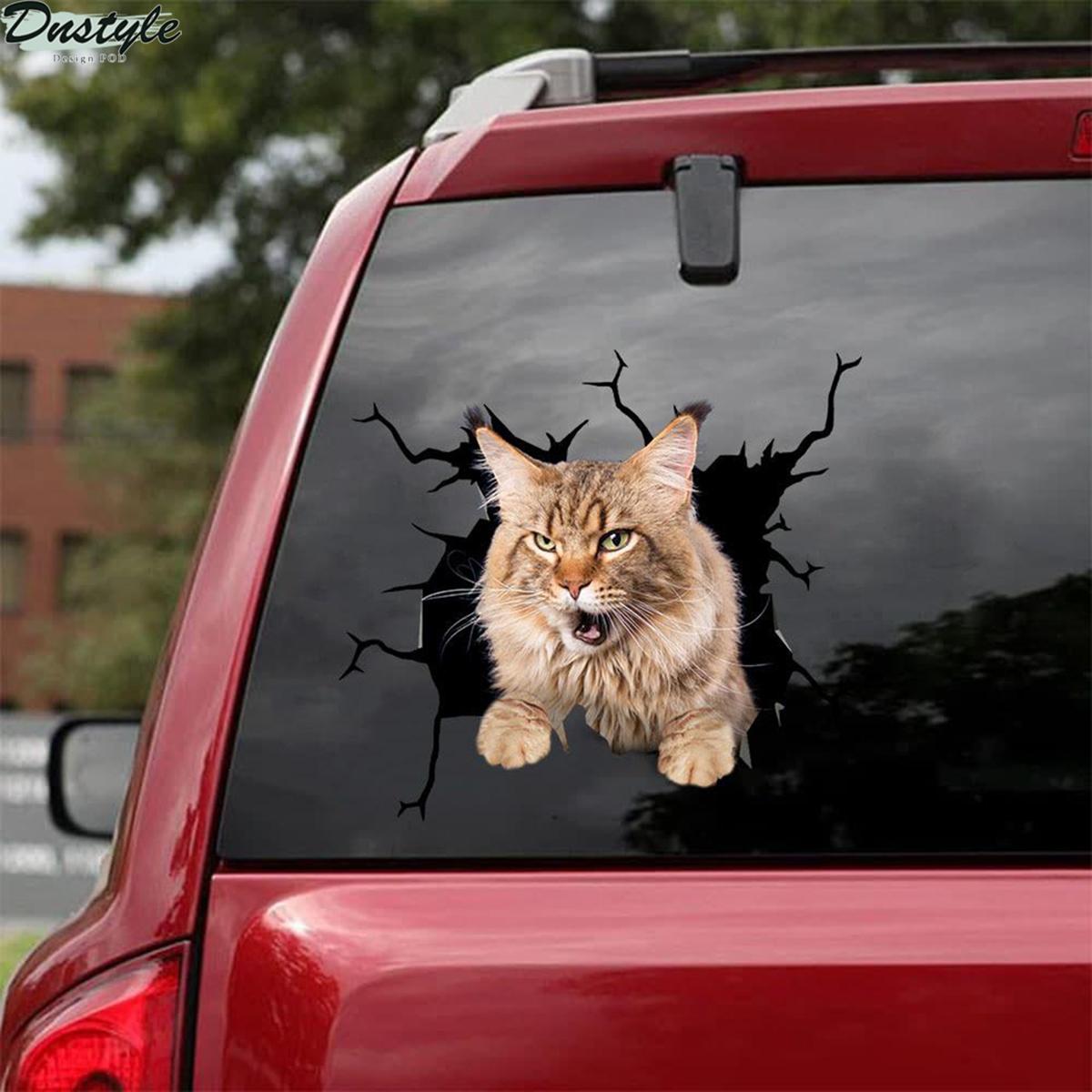 Maine coon cat crack car decal sticker 2