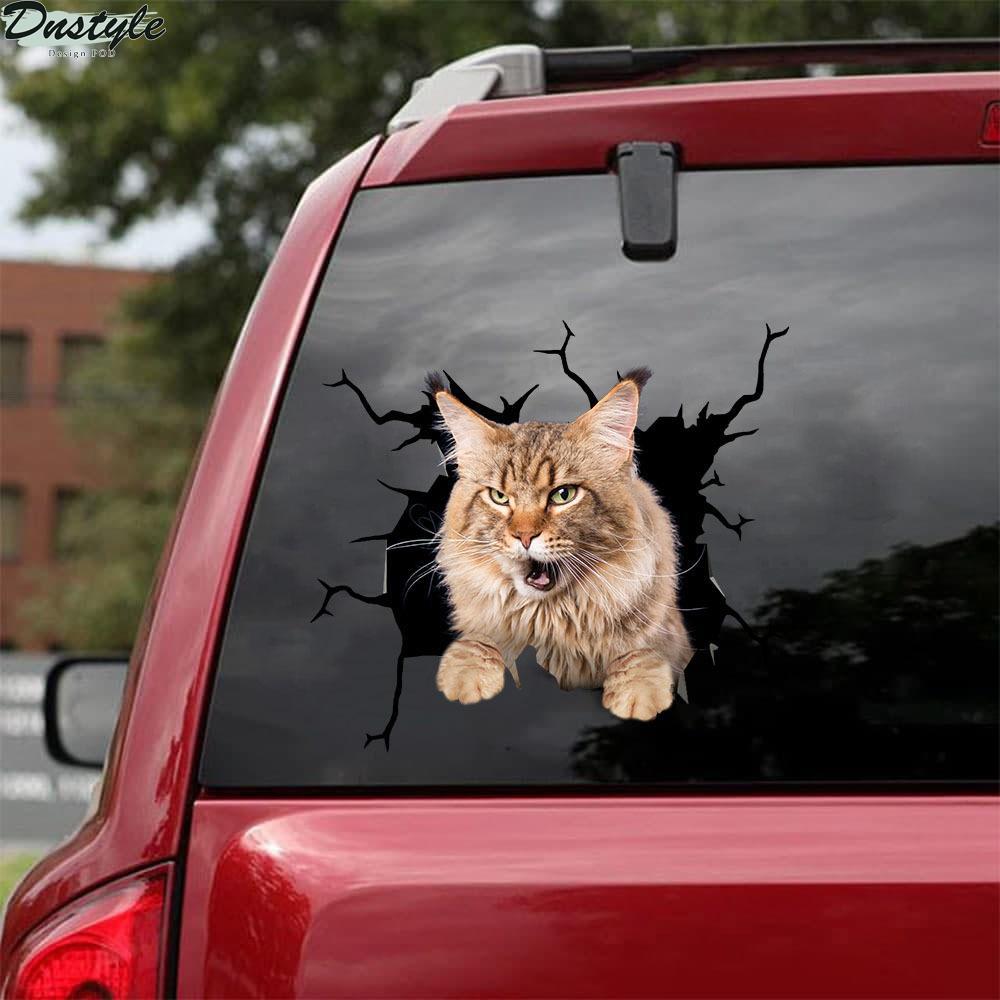 Maine coon cat crack car decal sticker