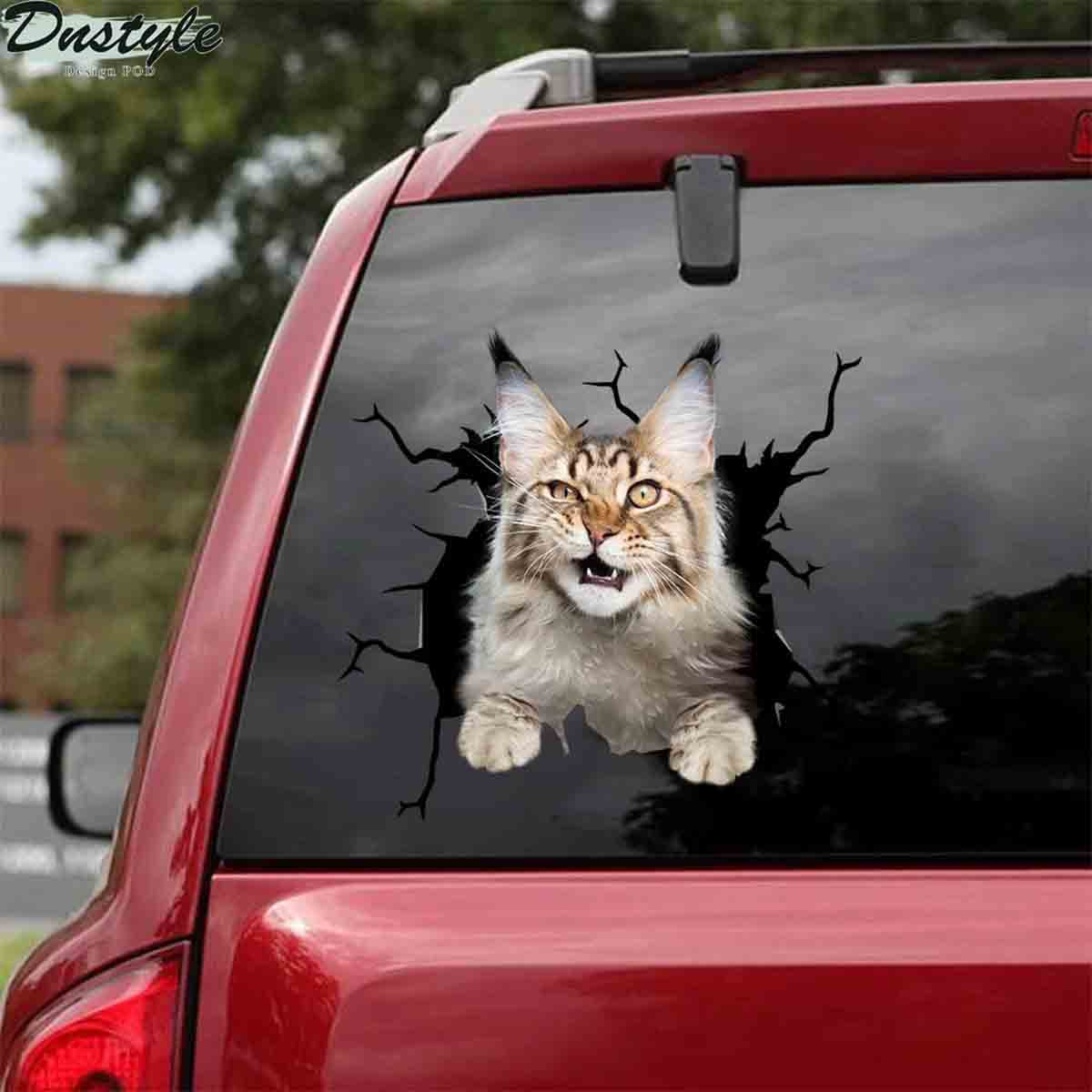 Maine coon cat crack car sticker cats lover 1