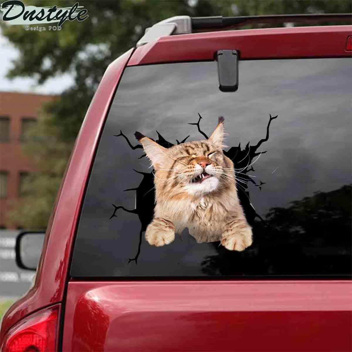 Maine coon grumpy crack car decal sticker 1