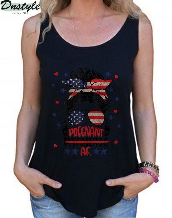 Messy Bun 4th Of July Patriotic Af Pregnant Pregnancy Funny Tank Top 1