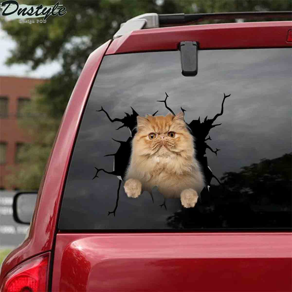 Persian cat crack car decal sticker 1