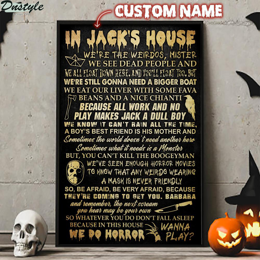 Personalized Custom Name In This House Horror Movie Poster