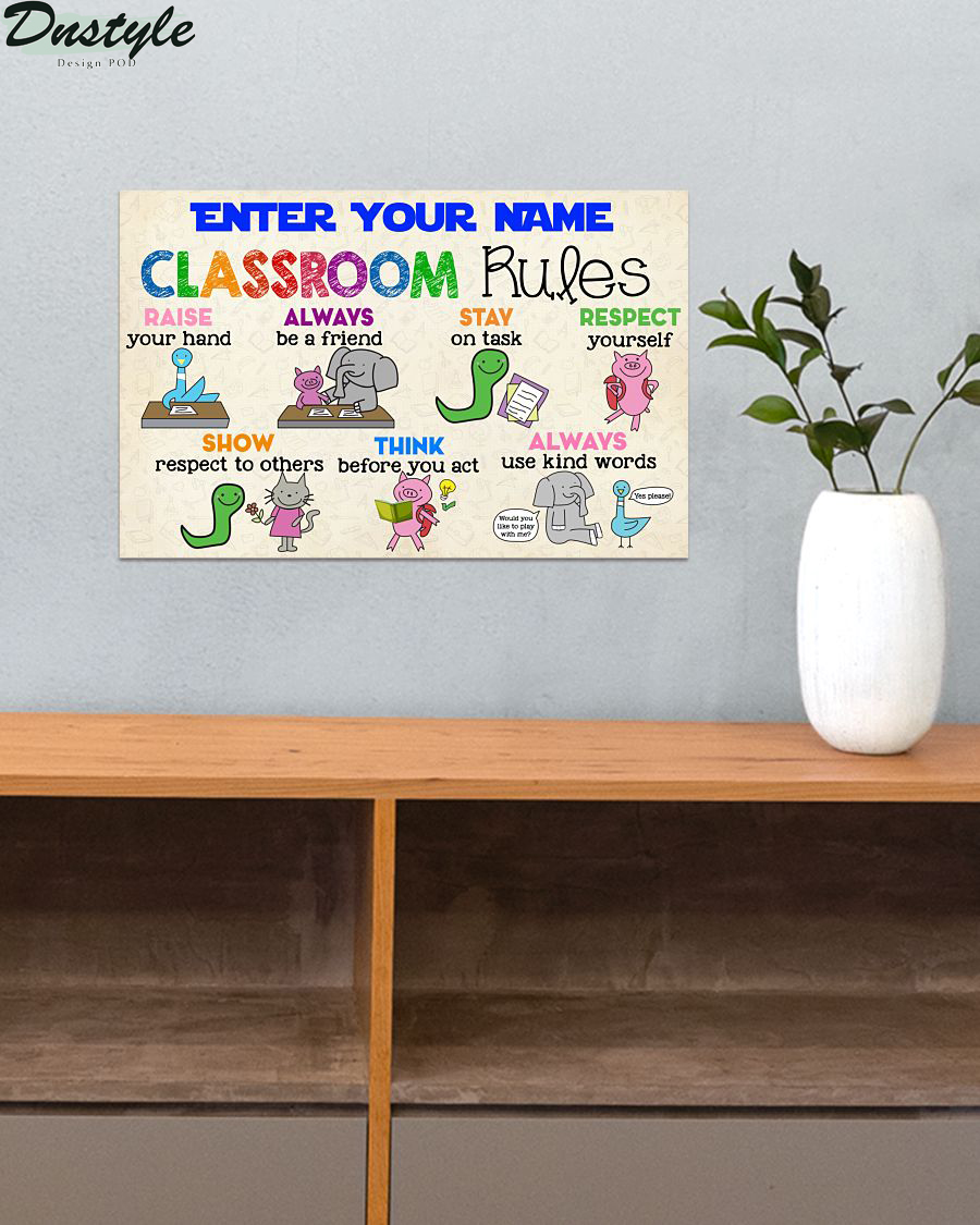 Personalized custom name classroom rules poster