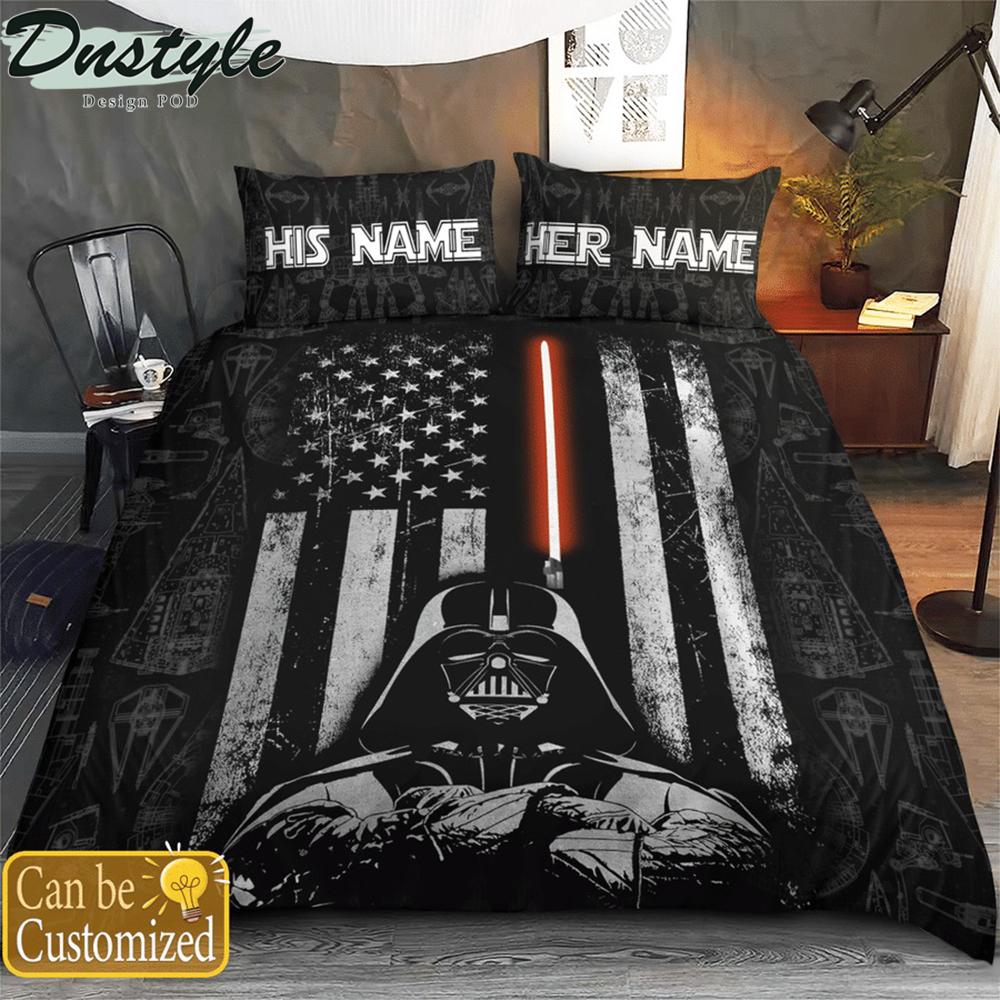 Personalized custom name star wars darth vader america flag bedding set 1