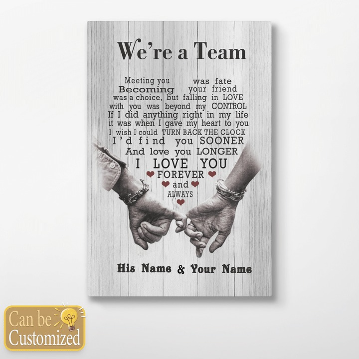 Personalized custom name we're a team I love you forever wife canvas