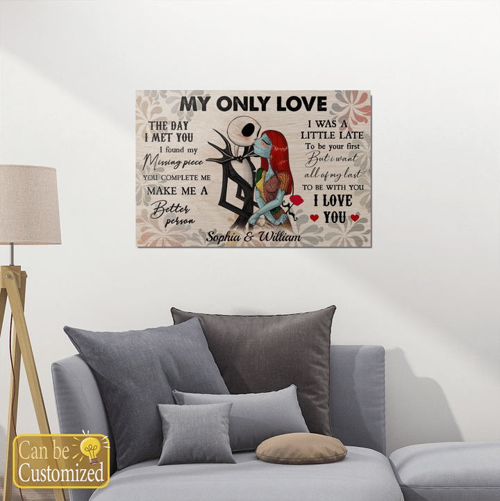 Personalized jack skellington and sally my only love canvas 1