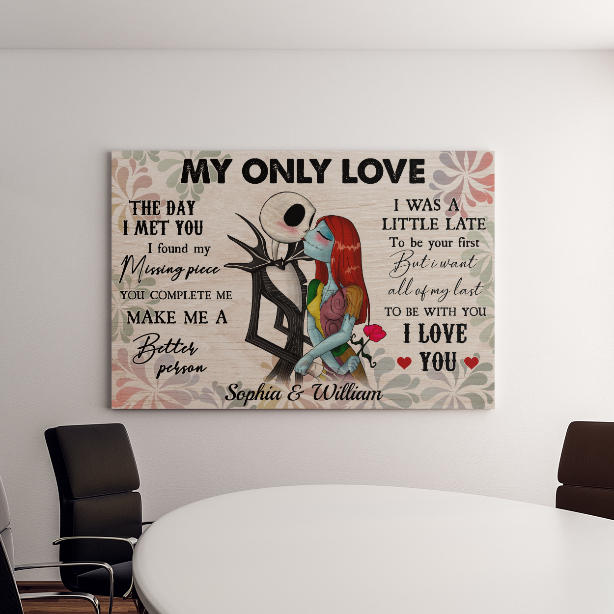 Personalized jack skellington and sally my only love canvas 2