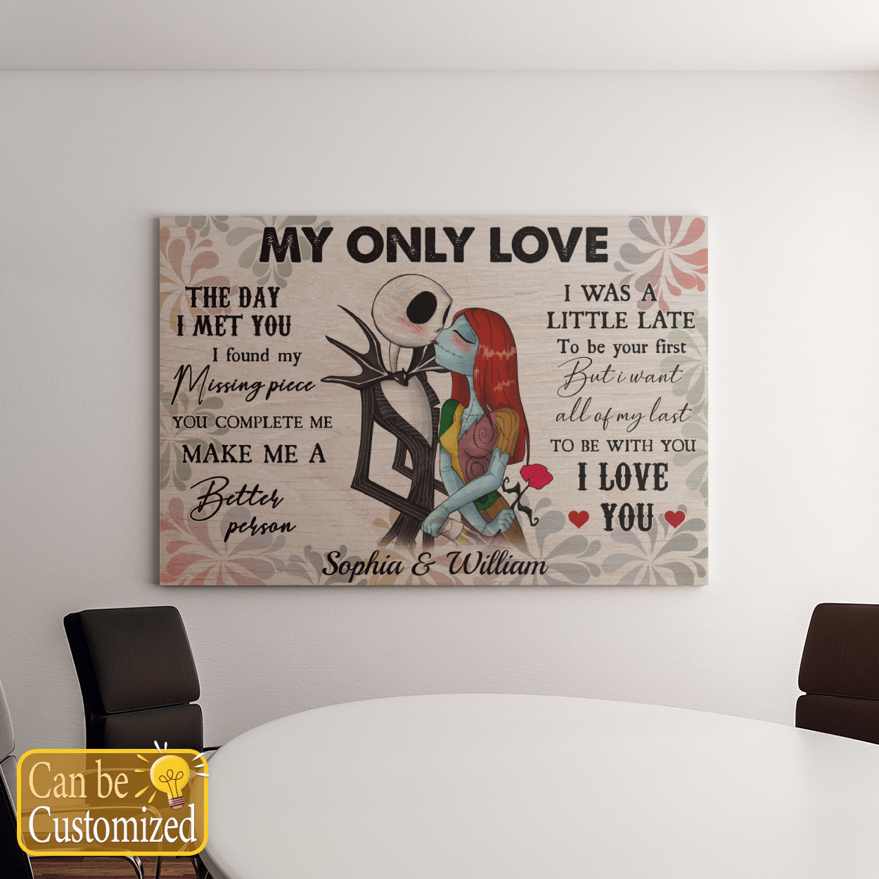 Personalized jack skellington and sally my only love canvas