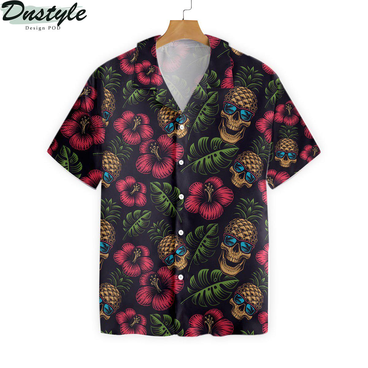 Pineapple Skull Black Hawaiian Shirt 1
