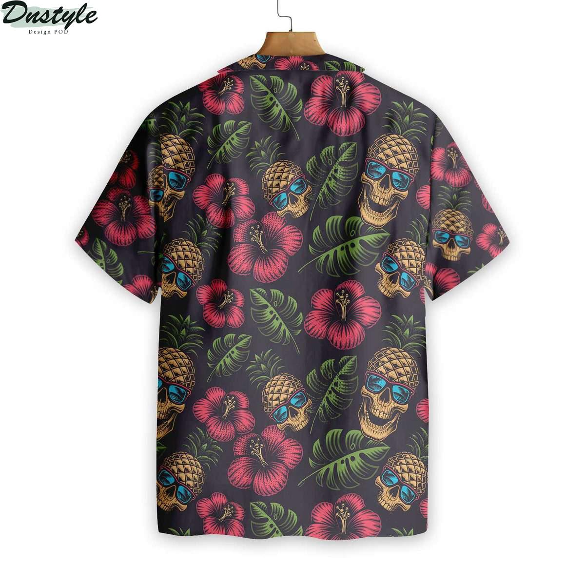 Pineapple Skull Black Hawaiian Shirt 2