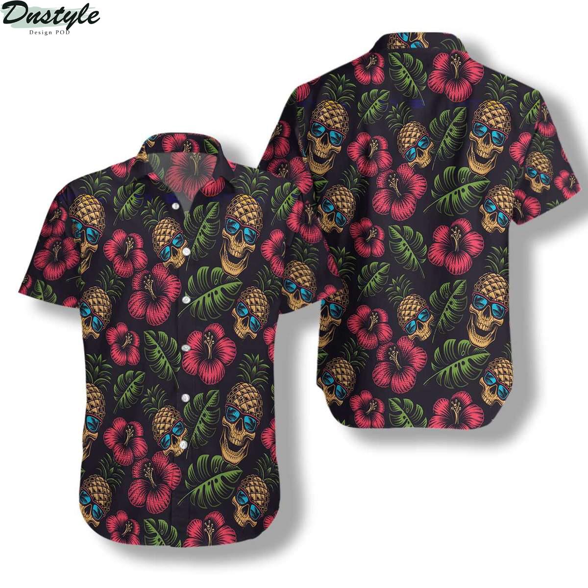 Pineapple Skull Black Hawaiian Shirt